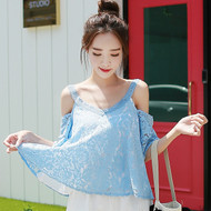 Knitting Shoulder Strap Umbrella Lace Blouse