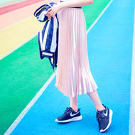 Pleated Velvet Maxi Skirt