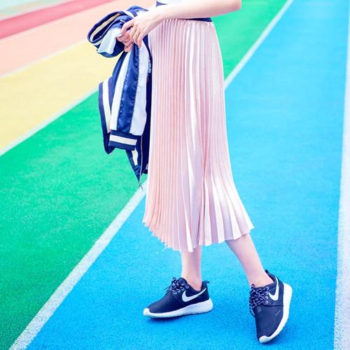 Pleated Velvet Maxi Skirt