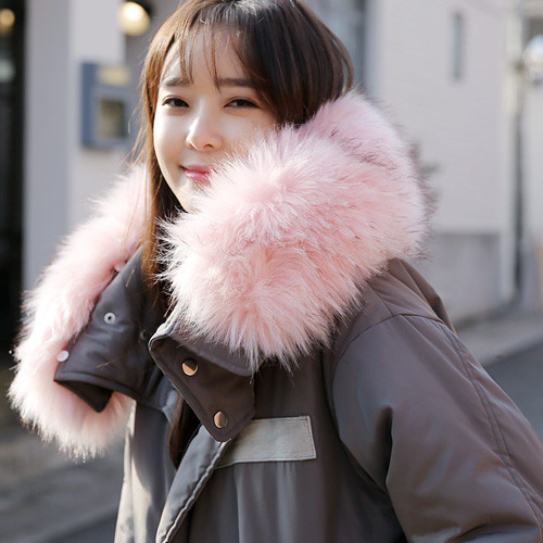 Fur-Lined Collar Long Padded Field Jacket