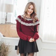 Pierced Beads Knit Top