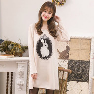 Rabbit Pattern Embossed Dress