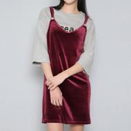 Ring-Buckled Strap Velvet Pinafore Dress