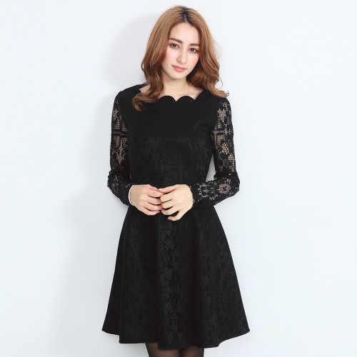 Lady Long Sleeves Lace Dress