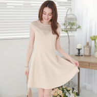 Lady Lace Stitching Sleeveless Dress