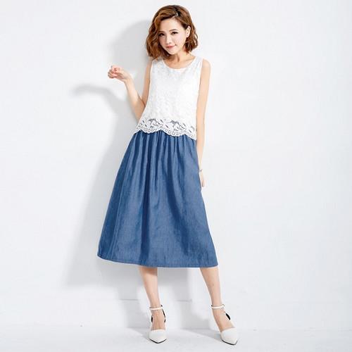 Back Bow Lace Stitching Dress