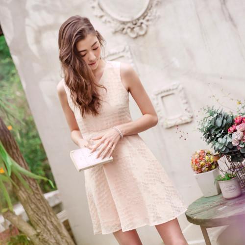 Rose V Neck Sleeveless Dress