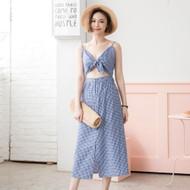 Sexy Plaid Maxi Dress