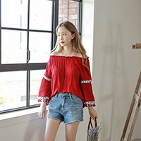 Tasseled Sleeves Off-Shoulder Blouse