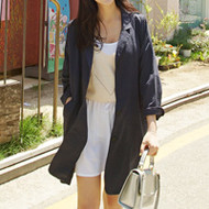 Single-Breasted Long Linen Jacket