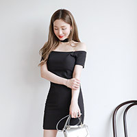 Choker Neck Off-Shoulder Dress