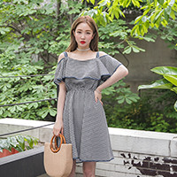 Gingham Check Cold Shoulder Dress