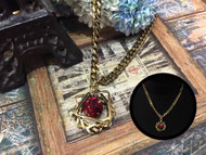 Red Crystal Gold Chain Necklace