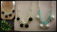 Pearl with Beads Charm Necklace