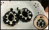 Round Black Gemstone Earrings
