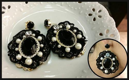 Round Black Gemstone Earrings