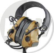 AIRSOFT TOMTAC COMTAC III 3 HEADSET MIC BOOM RADIO PELTOR DESIGN TAN LEFT RIGHT