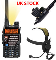 2 Way Dual Band Radio Baofeng Uv-5R + Headset + Ptt Switch Set Kit Black