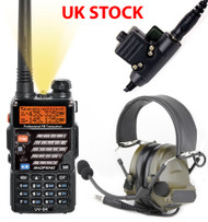 AIRSOFT 2 WAY RADIO GIFT SET KIT BAOFENG UV-5R HEADSET PELTOR SORDIN COMTAC GREEN