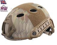 AIRSOFT CARBON PJ TYPE OPS CORE FAST BASE JUMP HELMET KRYPTEK MANDRAKE ARC RAILS