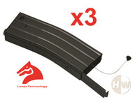 AIRSOFT M4 M16 SCAR METAL BLACK LONEX FLASH MAGAZINE MAG 360RDS ASG x3 PULL CORD
