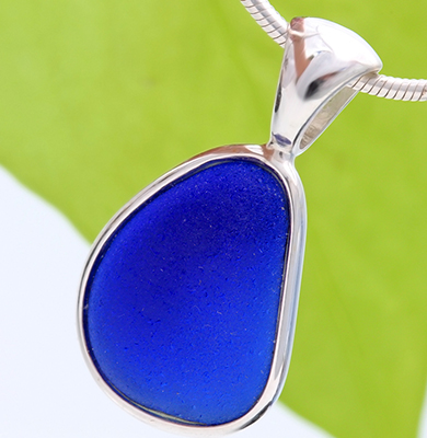 Blue Sea Glass Pendant in Silver