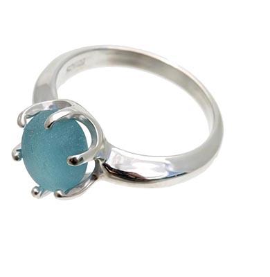 genuine-sea-glass-ring. in blue