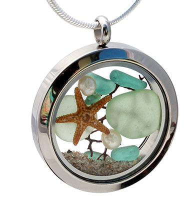 Genuine sea glass in a stainless steel locket with pearls and starfish