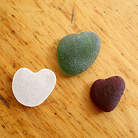 Natural Sea Glass Hearts in Sea Glass Jewelry
