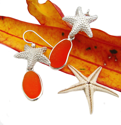 Rare Orange Sea Glass Earrings In Silver With Starfish