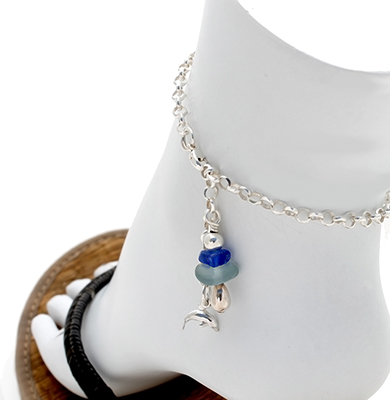 Sea Glass Ankle Bracelet with Charm