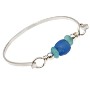 Tropical Aqua Sea Glass Sterling Bangle Bracelet With Recycled Blue Glass Bead