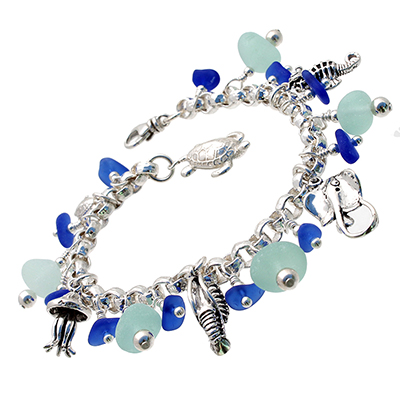sea-glass-bracelets-by-the-sea-jewelry - blue and aqua charms