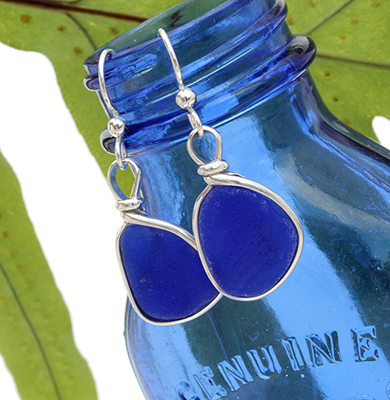 Blue sea glass earrings from By The Sea Jewelry
