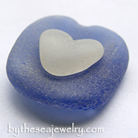 Blue and White Sea Glass Hearts