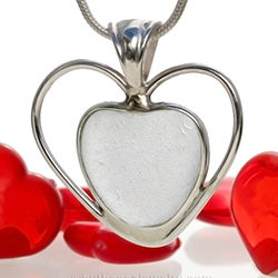 sea-glass-jewelry-for-valentines-day heart shaped pendant in silver
