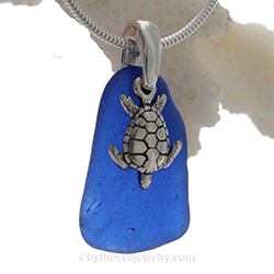 Blue Sea Glass Necklace with Turtle Charm now on sale