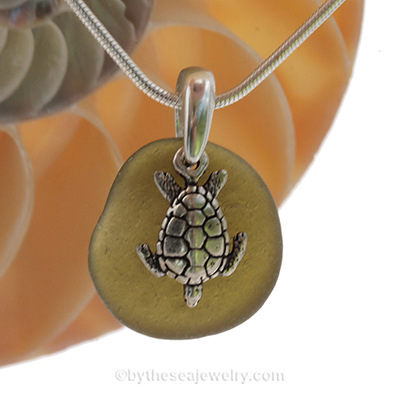 Olive Sea Glass Necklace with Turtle Charm