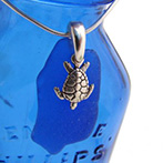 blue sea glass necklace with turtle charm