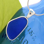 Blue sea glass necklace pendant