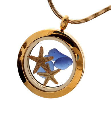 Gold sea glass locket with starfish and real sea glass