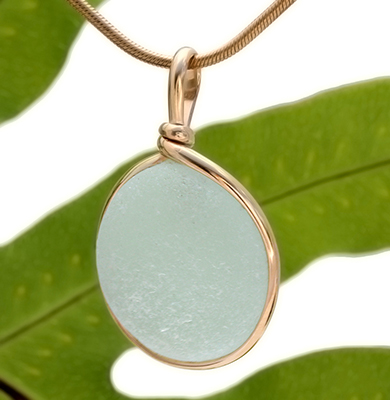 Seafoam Green Genuine Sea Glass Pendant in gold bezel setting