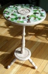 mosaic table made with sea glass