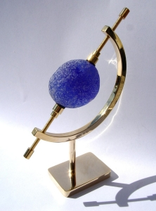 sea glass on brass stand