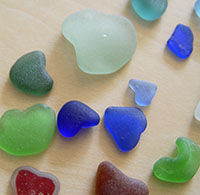 vivid sea glass hearts