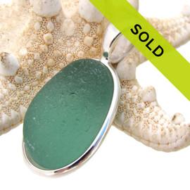 Medium Aqua Green Sea Glass In Silver Deluxe Wire Bezel©