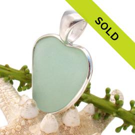 Sea Green Sea Glass Heart In Deluxe Sterling Wire Bezel©