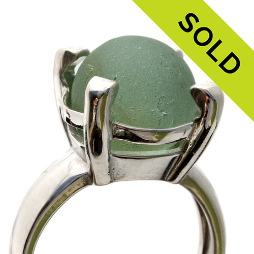 Seafoam Green Sea Glass Codd Marble In Sterling Ring - Size 8 (Re-Sizeable)