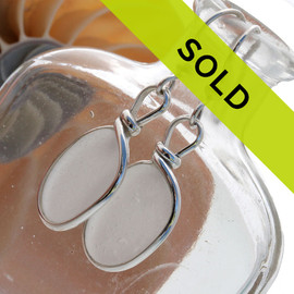 Sorry this pair of white sea glass earrings has sold!