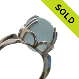 This totally natural piece of baby blue sea glass comes from a site in England where Victorian glass factories discarded scraps into local waters. These amazing TOP QUALITY sea glass pieces now wash ashore. SOLD - Sorry this Rare Sea Glass Ring is NO LONGER AVAILABLE!